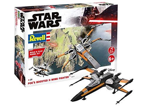 Revell Build & Play 06777 Poe\'s Boosted X-wing Fighter, 1:78 Star Wars Modellbausatz für Einsteiger zum Stecken und Spielen, Mehrfarbig