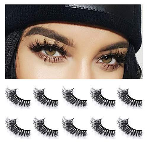 Neflyon Premium Quality Eye Lashes 100% Handmade Reusable Soft and Long 3D Mink False Eyelash 5 Pair Package