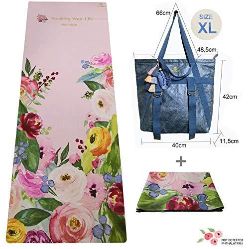 GOLDEN® Reise Yogamatte 1/16 und 1/25 Zoll Waschbar Faltbare 2 in 1 Handtuch,rutschfest Naturkautschuk (Blume Rose + Tyvekpapier Tasche)