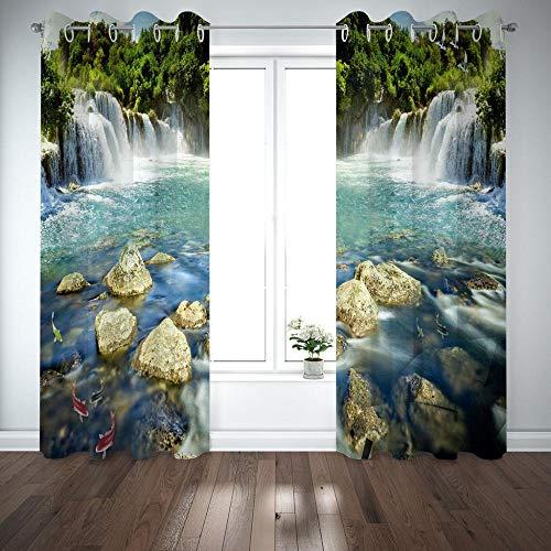 FSMYQH Cortinas Salón Opacas Aislantes Térmicas Cascada de río Cortinas Opacas para Ventanas Dormitorio Salón Moderno 234 x 137 cm