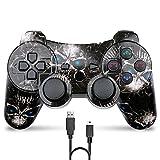 Mando Inalámbrico para PS3 Doble Vibración Six-Axis Bluetooth Gamepad Recargable Joystick para Playstation 3(Cráneo)