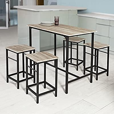 Haotian OGT11-N,5 Piece Dining Set,Dining Table with 4Stools,Home Kitchen Breakfast Table,Bar Table Set, Bar Table with 4 Bar Stools,Kitchen Counter with Bar Chairs