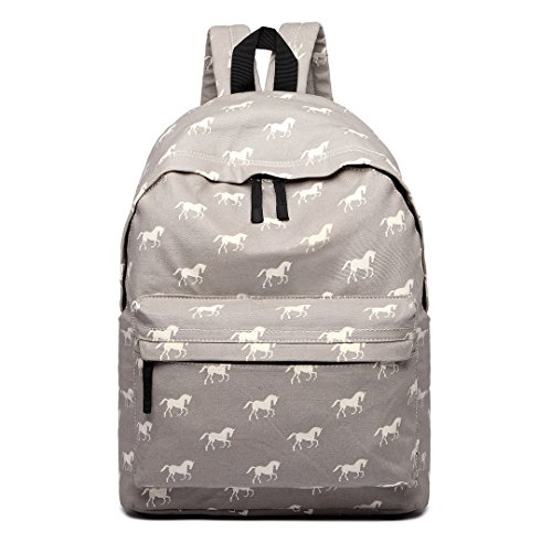 Miss Lulu Backpack Rucksack Travel Camping Print School Bags for Teenager Girls (Horse Grey) E1401H GY