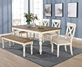 Roundhill Furniture Prato 6-Piece Dining Table Set with Cross Back Chairs and Bench, Antique White and Distressed Oak