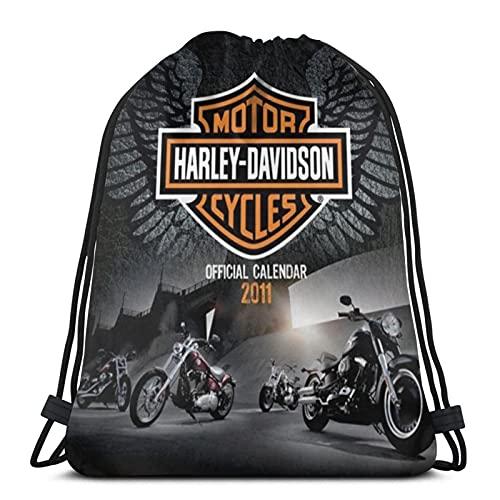JIAMEIMEI Harley Davidson Bolsas de Cuerdas Mochila con cordón Mochila Ligera para Gimnasio Mochila para Deportes de Playa Gimnasio Viaje Yoga Drawstring Bag