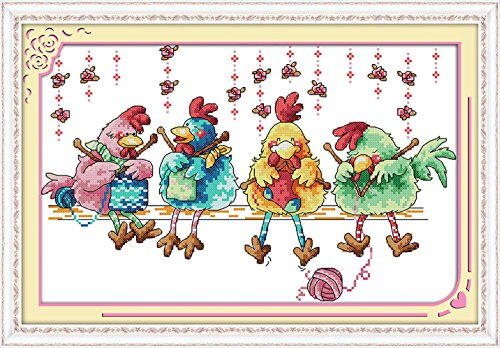 eGoodn Cross Stitch Stamped Kit Pre-Printed Pattern Knitting Chickens, 11ct Aida Fabric Size 20.5 inches by 13.8 inches for Embroidery Needlework Art Crafts Lovers, No Frame