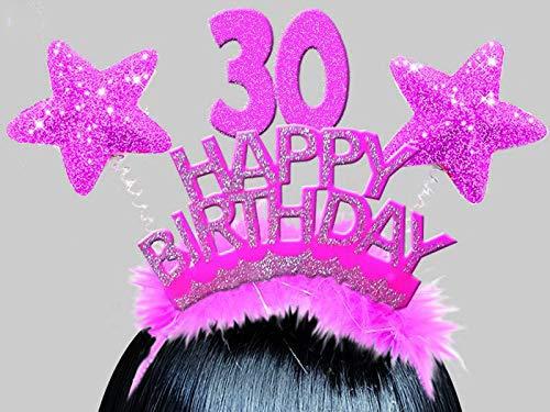 Partycolarità Cerchietto Stelline Glitter Happy Birthday 30 Anni - Gadget Divertente Trentesimo Compleanno