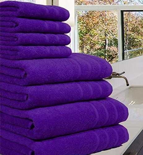 Luxuriöses Handtuch-Set aus 100 {d30a9fb48f34683f02597abbac405c86bc1748056cf9104bcf01580d5f4ea443} luxuriöser, ägyptischer Baumwolle,8Stück, 550 g/m², in extra großen Größen erhältlich, baumwolle, violett, 8 Pieces Set