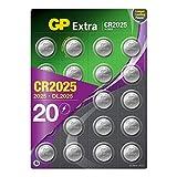CR2025 Batería 3V Litio - Pack de 20 - (CR 2025 / Baterías CR2025 / DL2025 / ECR2025 / 2025 / Ideal para Gafas 3D