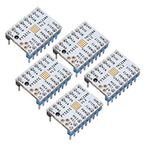 Homyl 3D Drucker Zubehörsatz TMC2208 V1.0 Schrittmotortreiber Modul Controller (5 Stücke) Inkl. 5X Kühlkörper + Schraubendreher