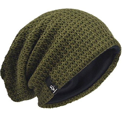 Hombre Gorro de Punto Slouch Beanie Knit Invierno Verano Hat (Verde)