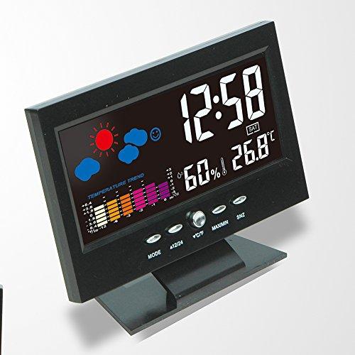 TQ Digitale Wetterstation mit Hintergrundbeleuchtung Wecker Temperaturanzeige LCD Kalender Vioce-aktiviertes Thermometer Hygrometer Tester