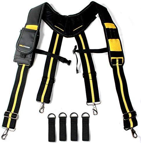 Melo Tough Tool Belt Suspenders with Padded Foam Adjustable Shoulder Straps Large Phone Holder product image