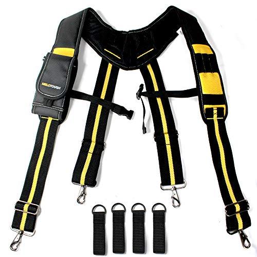 Melo Tough Tool Belt Suspenders with Padded Foam Adjustable Shoulder Straps, Large Phone Holder, Key Chain, Suspenders Loop Adjustable for Carpenter Suspenders Rig (Clip)