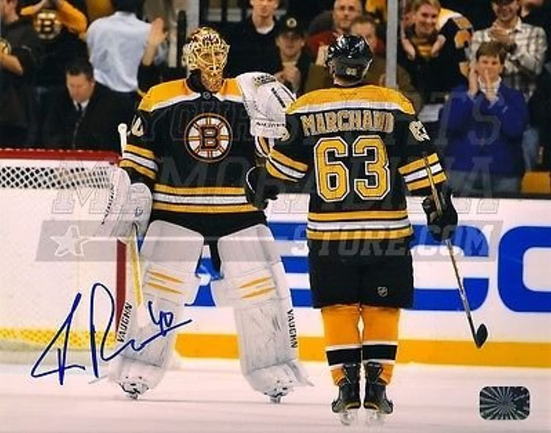 Tuukka Rask Boston Bruins Signed Autographed Celebration with Brad Marchand 8x10