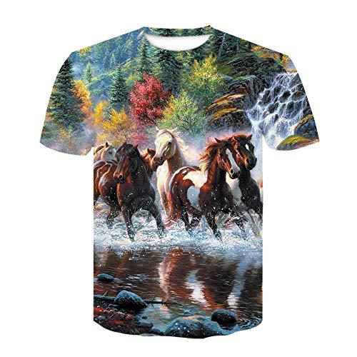RKWEI T-shirt à manches courtes pour homme Motif cheval 3D XXL multicolore