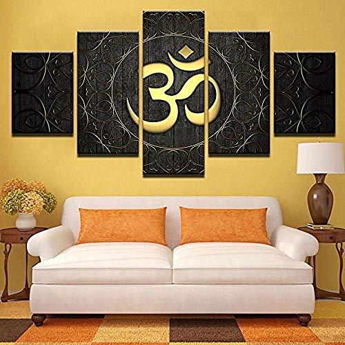 jjshily Leinwand Gedruckt Großformat Leinwand Wand Modern Living Künstler Dekoration Wohnzimmer HD Poster Poster 5 Stücke von Buddha Bilder Druck auf Leinwand Rahmenlose