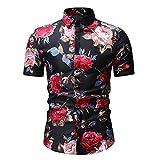Playa Shirt Hombre Verano Cárdigan Estilo Hawaiano Hombre Henley Camisa Moderno Básico Ajustado Elástico Hombre Manga Corta Casual Vacaciones Herren Camisa E-Black 3XL