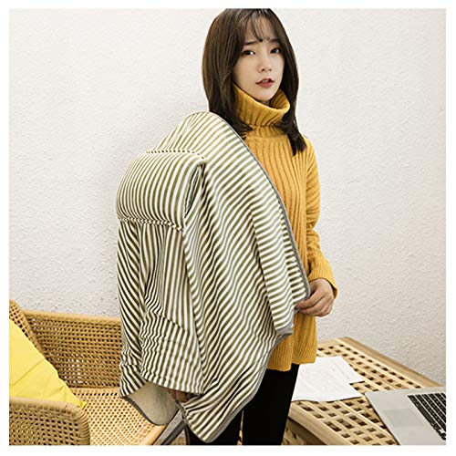 Electric Heated Blanket, Foldable Portable USB Warm Electric Blanket Shawl, Warm Knees Leg and Hands, for Travel Office Home Outdoor and Vehicle Green Stripes