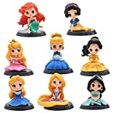 Hilloly Decoración para Tarta Princesa 8 pcs Princesa Cake Topper Mini Juego de Figuras Niños Fiesta de cumpleaños Pastel Decoración Suministros Decoración Fiesta de Boda