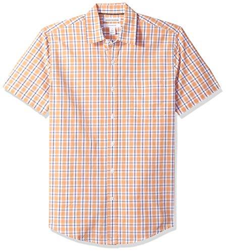 Amazon Essentials Herrenhemd, schmale Passform, kurzärmlig, Popeline, Coral/White Plaid, Large