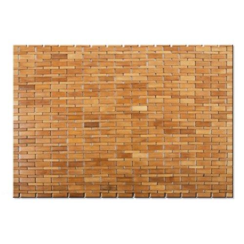 casa pura Bamboo Bath Mat Bamboo Mat | MIA | Bathroom & Sauna Mat | Natural, 60 x 90 cm (2ft x 3ft)
