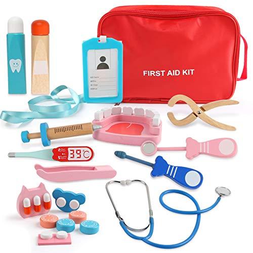 BeebeeRun Kit Medici per Bambini,Valigia Dottore Bambini Kit,Medico Gioco,19 Pezzi Giocattoli Medico di Legno,Kit Medico Dentista,Fingere Giocattoli per 3 4 5 6 Anni,Regali