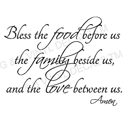 BLESS THE FOOD FAMILY LOVE KITCHEN VINYL WALL DECAL LETTERS DECOR