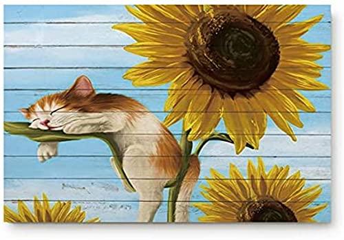 Felpudo para puerta de entrada, diseño de girasol con gato dormido en tablones de madera azul, para dormitorio, cocina, entrada, antideslizante de perfil bajo (45 x 30 cm)