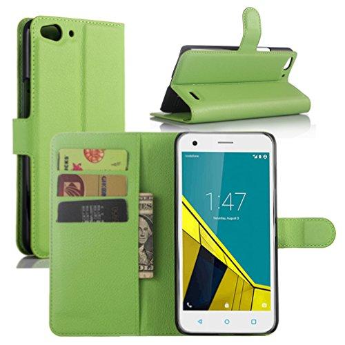 Vodafone Smart Ultra 6 Hülle, HualuBro [Standfunktion] [All Aro& Schutz] Premium PU Leder Wallet Tasche Schutzhülle Hülle Flip Cover mit Karten Slot für Vodafone Smart Ultra 6 Smartphone (Grün)