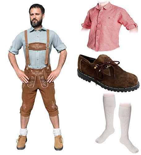 Herren Trachten Set B 5-teilig Trachten Lederhose Hellbraun 46-60 Trachtenhemd Schuhe Socken Oktoberfest