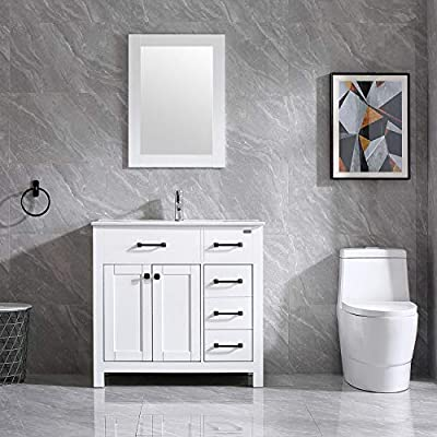 "Wonline 36"" Bathroom Vanity and Sink Combo Cabinet Undermount Ceramic Vessel Sink Chrome Faucet Drain with Mirror Vanities Set"
