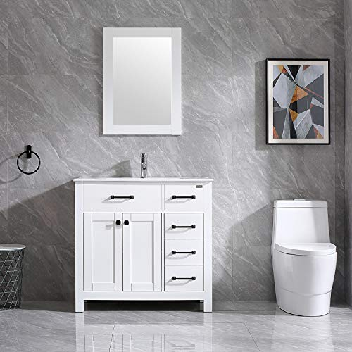 Walsport Bathroom Vanity with Sink 36 inch White Modern Wood Cabinet Basin Vessel Sink Set with Mirror, Chrome Faucet, P-Trap