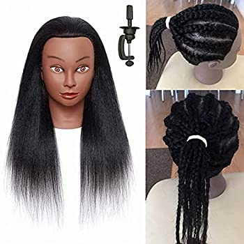 JIETEER Mannequin Head with Human Hair for Braiding 100% Real Hair Mannequin Head Cosmetology Mannequin Head with Hair Doll head for Hair Styling Free Table Mannequin Stand  16 Inch