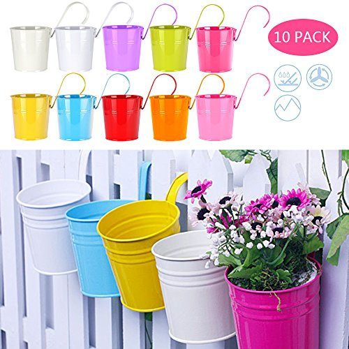 Yishik Set of 10 Iron Hanging Flower Pots With Detachable Handle and Drainage Hole Metal Flower Bucket Hanging Balcony Garden Planter Home Decor