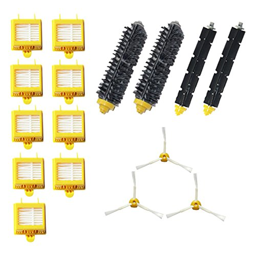 Amyehouse Replacement Parts Kit Includes Bristle Brush & Flexbile Beater & Side Brush & Hepa Filters Compatible for Irobot Roomba 700 Series 760 770 780 790 Vacuum Accessories