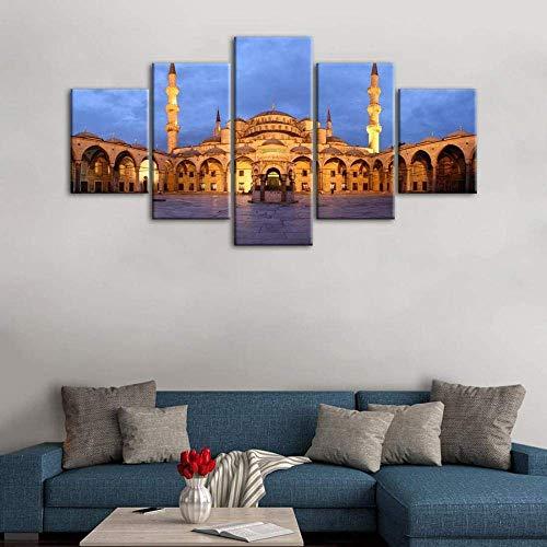 YDWD Wandbild Wohnzimmer 5 Stück 5 Stück Malaysia Putra Leinwand Malerei Wandkunst für Wohnzimmer Drucke & Poster Seetempel Putrajaya Städte Bilder Wanddekoration Kinder R.