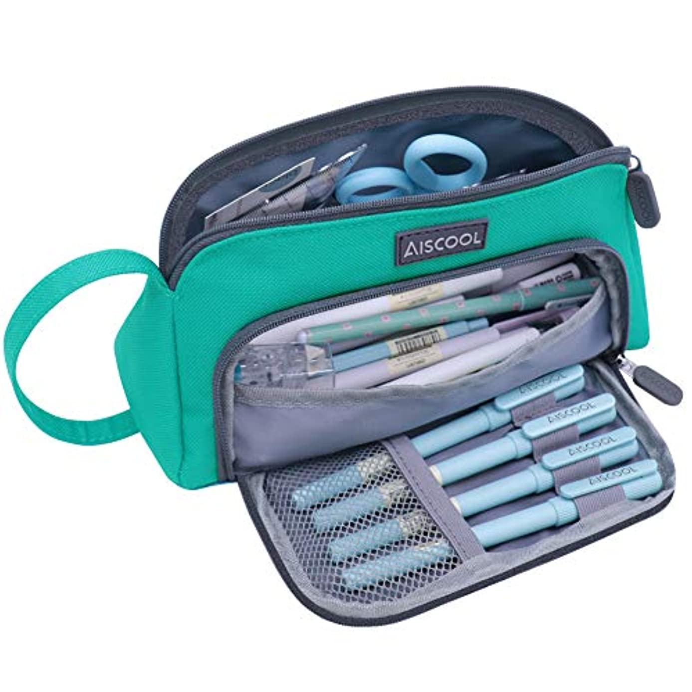 Aiscool Pencil Case Big Capacity Large Pencil Pouch Organizer Pen Bag Holder Stationery Box with Zipper and Compartments 1.5L Storage School Supplies College Office Boys and Girls Adult (Green)