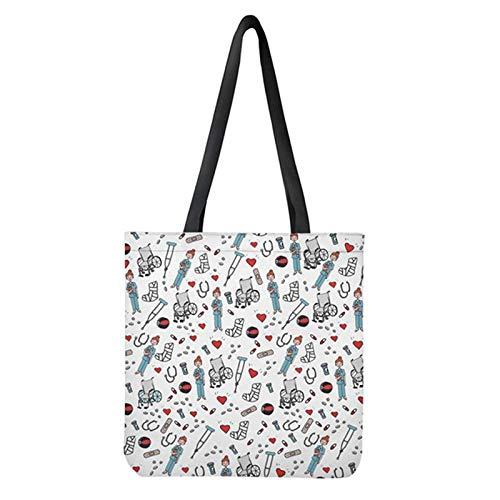 POLERO Nurse Bolsa de la compra, lona de algodón, bolsa de la compra, bolsa de tela, bolsa de algodón con estampado de dibujos animados, para niña, mujer, enfermera, trabajo diario, 42x34cm