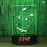 Luz nocturna 3D de anime, lámpara de escritorio de acrílico, reloj electrónico, regalo