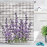 N / A Lila Blumenstoff Duschvorhang Lavendel Stempel Muster Vintage Badezimmer Gardinen mit Haken Home Badewanne Zubehör Waschbar W180xH200cm