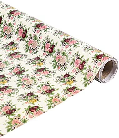 PoetryHome Self Adhesive Vinyl Rose Flower Shelf Liner Wall Paper Cabinets Dresser Drawer Liner product image