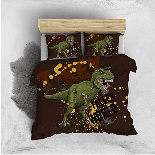 Stillshine. Boy And Girl 2/3 Bedding Colorful Dinosaur Duvet Cover 3D Animal Dinosaur Duvet Cover With Zipper + Pillowcase 50x75 cm (Colorful3,200x200 cm)