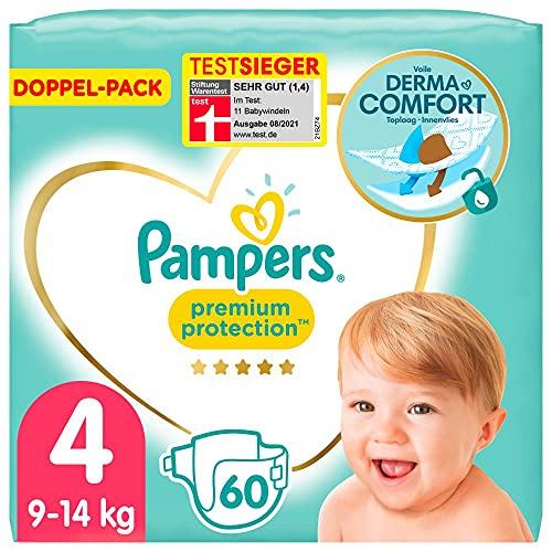 Pampers Baby Windeln Größe 4 (9-14kg) Premium Protection, 60 Stück, Pampers Weichster Komfort Und Bester Hautschutz