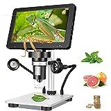 4YANG Soldadura microscopio Digital,7 Pulgadas 1080P 12MP 1200x HD Zoom de Aumento Cámara de microscopio inalámbrica,Microscopio Digital con 8 Luces LED, para iPhone Android iPad Mac Windows