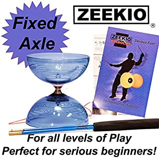 Zeekio Crystal Series Master Spin Diabolo - Fixed Axle, Durable Transparent cups, Comes with Sticks, String and Instructions - (Blue)