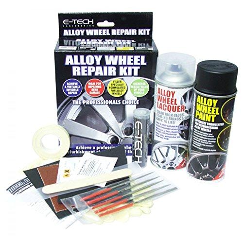 E-Tech Car Complete Alloy Wheel Refurbishment Repair Professional Kit- BLACK