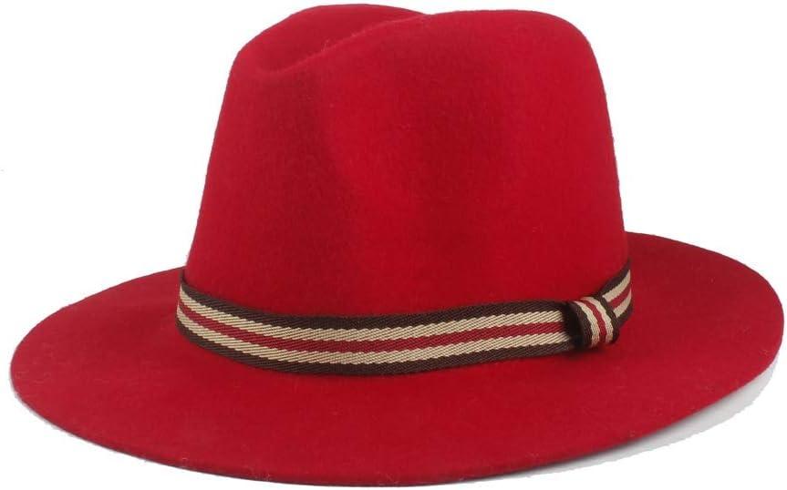 U/D Men Women Big Brim Hat Jazz Couple Hat Wool Polyester Fedora Hat Autumn Winter Gentleman Hat Retro SZMAABBC (Color : Red, Size : 56-58cm)