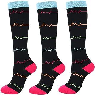 Booding, 3 pares Calcetines de compresión para Mujeres y Hombres para Baloncesto Fútbol Correr Escalar Montaña para correr, médico, deportivo, viajes en avión, embarazo