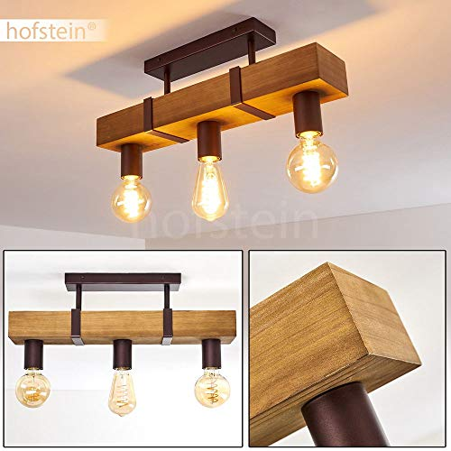 Deckenleuchte Balakovo, Deckenlampe aus Metall/Holz in Rost/Braun, 3-flammig, 3 x E27-Fassung max. 40 Watt, Spot im Retro/Vintage Design, für LED Leuchtmittel geeignet
